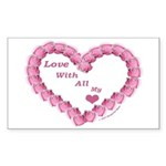 Memory Rose Heart Valentine Rectangle Sticker