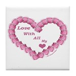 Memory Rose Heart Valentine Tile Coaster