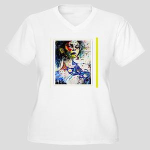 INDUSTRIAL MAMMA Women's Plus Size V-Neck T-Shirt