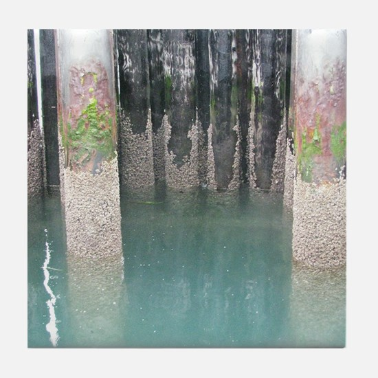 Guemes Island Ferry Pilings Tile Coaster