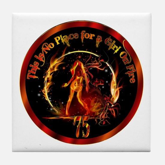 Girl on Fire Tile Coaster