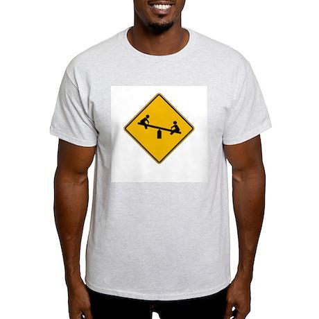 Playground Warning - USA Ash Grey T-Shirt