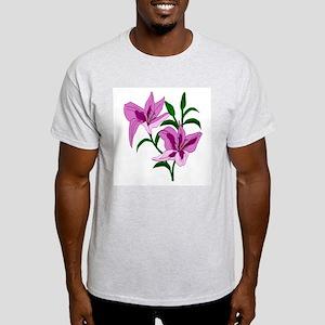 Pink Lilies Ash Grey T-Shirt