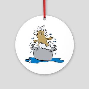 Cat Bath II Ornament (Round)