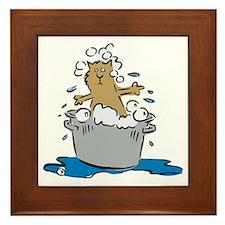 Cat Bath II Framed Tile