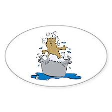 Cat Bath II Oval Sticker