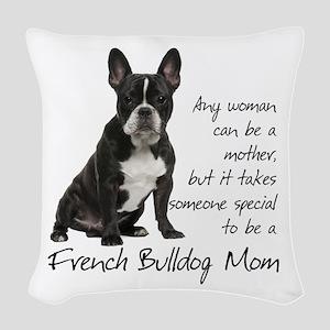 Frenchie Mom Woven Throw Pillow