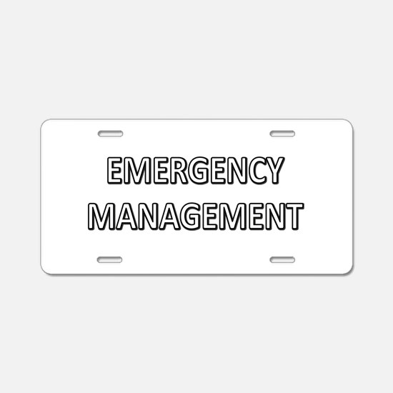 Emergency Management - White Aluminum License Plat