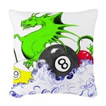 Pool Dragon Billiards Woven Throw Pillow