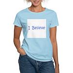 Blue I Believe Women's Pink T-Shirt