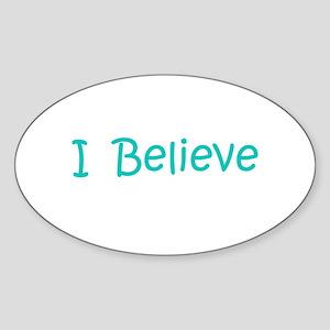 Aqua I Believe Oval Sticker