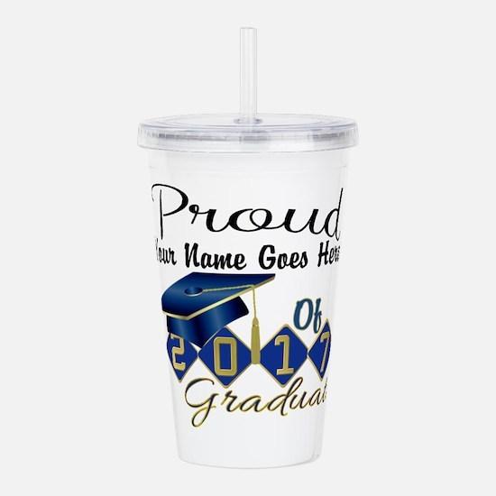 Proud 2017 Graduate Blue Acrylic Double-wall Tumbl