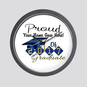 Proud 2017 Graduate Blue Wall Clock