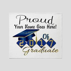 Proud 2017 Graduate Blue Throw Blanket
