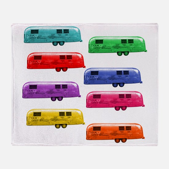 Airstream trailers candy colors Throw Blanket