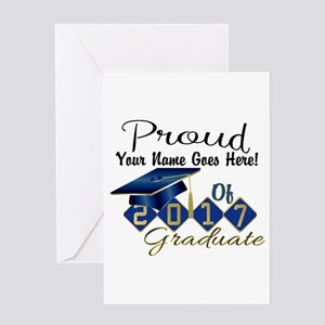 Proud 2017 Graduate Blue Greeting Cards