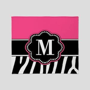 Pink Zebra Print Monogram Throw Blanket