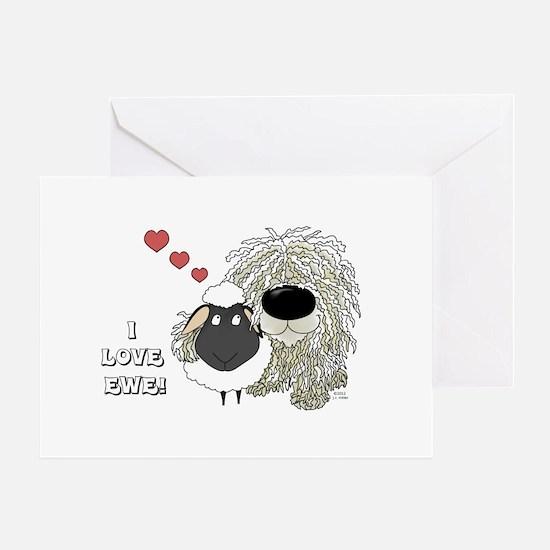 Komondor-I Love Ewe Greeting Card