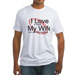 Love My Wife and Football Fitted T-Shirt