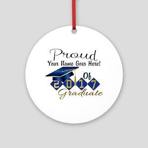 Proud 2017 Graduate Blue Round Ornament