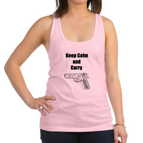 Keep calm and carry Racerback Tank Top
