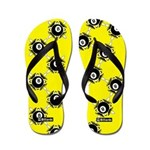 Yellow 8 Ball Flip Flops