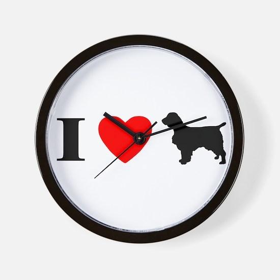 I Heart Welsh Springers Wall Clock