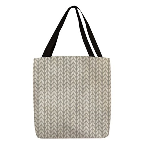 White Knit Graphic Pattern Polyester Tote Bag
