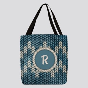 MONOGRAM Knit Graphic Blue Polyester Tote Bag