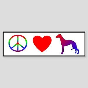 Peace, Love, Whippet Bumper Sticker