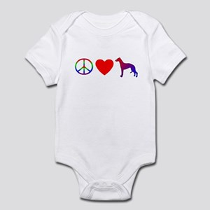 Peace, Love, Whippet Baby Bodysuit