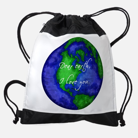Dear Earth, I Love You Drawstring Bag