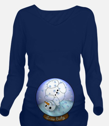 Frosty Snow Globe Long Sleeve Maternity T-Shirt