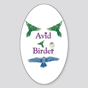 Avid Birder Oval Sticker