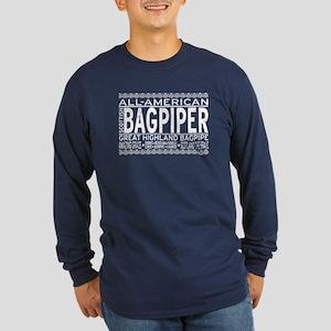 All American Bagpiper Long Sleeve Dark T-Shirt