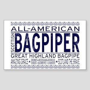 All American Bagpiper Rectangle Sticker