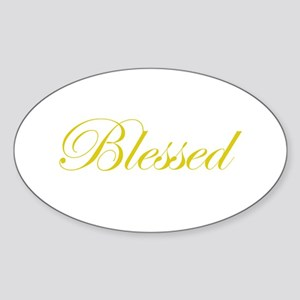 Gold Blessed Oval Sticker