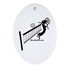 Kokopelli Volleyball Player Oval Ornament