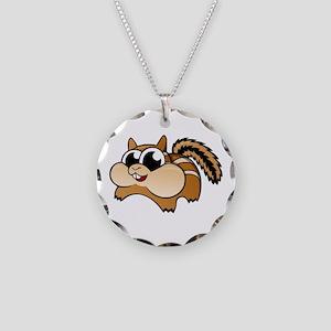 Cartoon Chipmunk Necklace Circle Charm