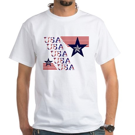 USA Red, White and Blue White T-Shirt