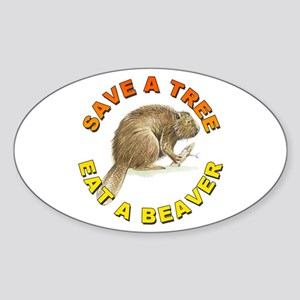 Save a Tree Environment Oval Sticker