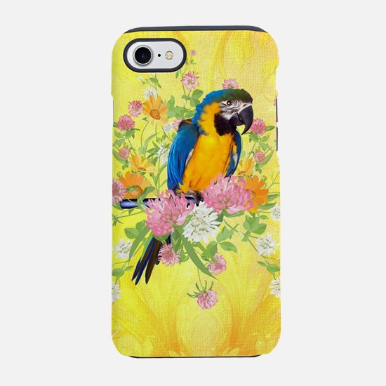 Cute parrot with flowers iPhone 7 Tough Case