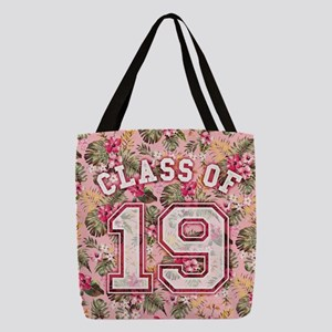 Class of 19 Floral Pink Polyester Tote Bag