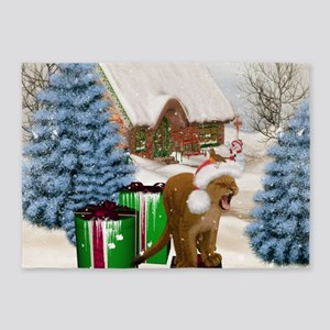 Christmas, Cute little lion with gifts 5'x7'Area R