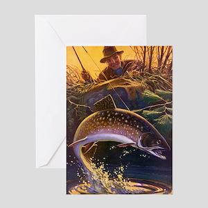 Vintage Fish, Fisherman Fishing Greeting Card