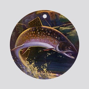 Vintage Fishing, Trout Fish Round Ornament