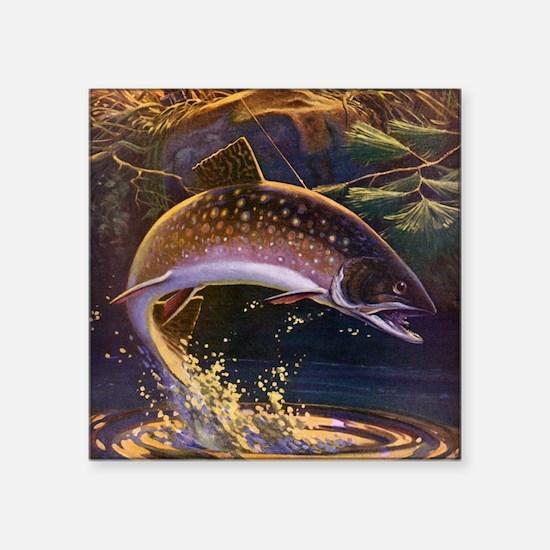 "Vintage Fishing, Trout Fish Square Sticker 3"" x 3"""