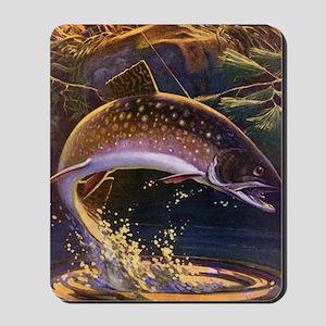 Vintage Fishing, Trout Fish Mousepad