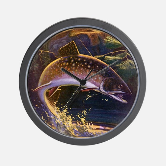 Vintage Fishing, Trout Fish Wall Clock