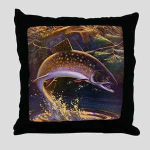 Vintage Fishing, Trout Fish Throw Pillow